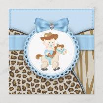 Brown Blue Cowboy Baby Boy Shower Invitation