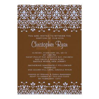 Brown Blue Damask Baptism Invitation