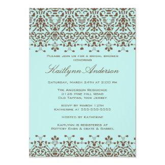 Brown & Blue Damask Bridal Shower Invitation