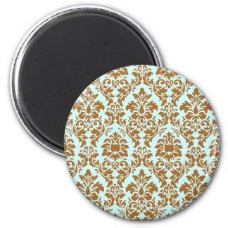 Brown & Blue Damask Magnet
