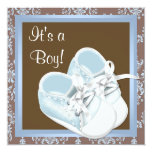 Brown Blue Damask Shoes Baby Boy Shower Invitation