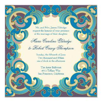 Brown Blue Fantasy Wedding Invitations