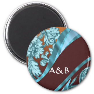 Brown & blue floral damask pattern 2 inch round magnet