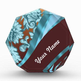 Brown & blue floral damask pattern award