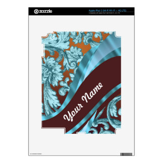 Brown & blue floral damask pattern decal for iPad 3