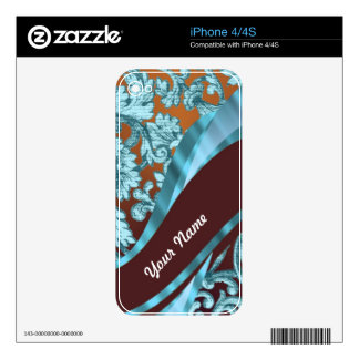Brown & blue floral damask pattern decal for the iPhone 4
