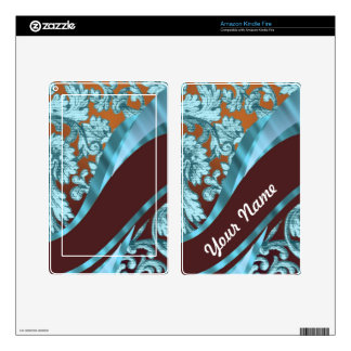 Brown & blue floral damask pattern decals for kindle fire