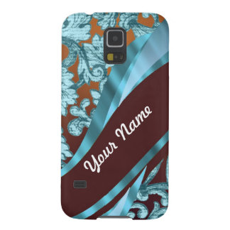 Brown & blue floral damask pattern galaxy s5 case