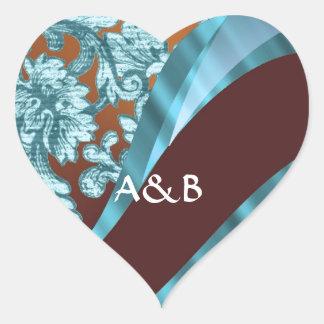 Brown & blue floral damask pattern heart sticker