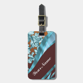 Brown & blue floral damask pattern luggage tag