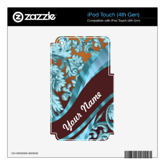 Brown & blue floral damask pattern skin for iPod touch 4G