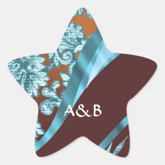 Brown & blue floral damask pattern star sticker
