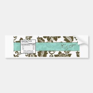Brown/Blue Floral Damask Water Bottle Label Bumper Sticker