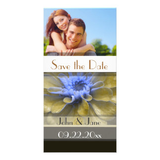 """Brown/Blue Floral  /photo  """"Save the Date"""" Card"""