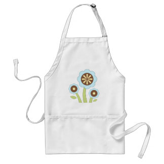 Brown & Blue Flowers Adult Apron