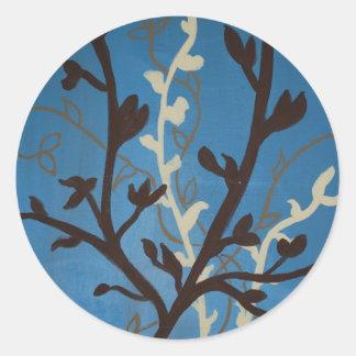 Brown & Blue Flowers Classic Round Sticker