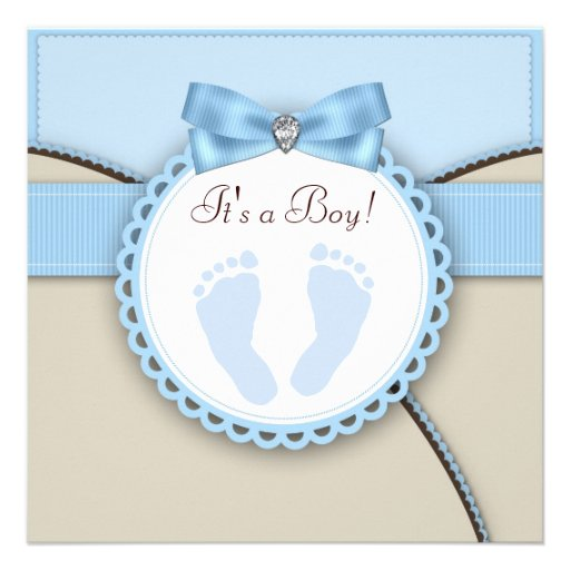 Brown Blue Footprint Baby Boy Shower Personalized Announcements (front side)