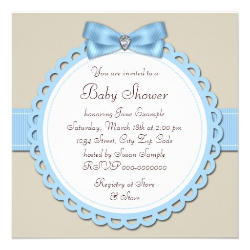 Brown Blue Footprint Baby Boy Shower Personalized Announcements (back side)