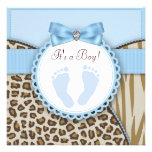 Brown Blue Footprint Baby Boy Shower Personalized Announcement