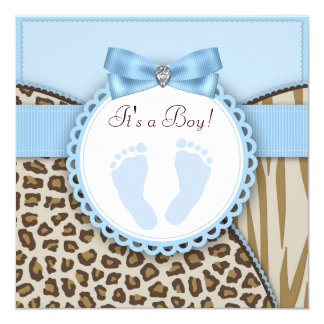 Brown Blue Footprint Baby Shower Personalized Announcement