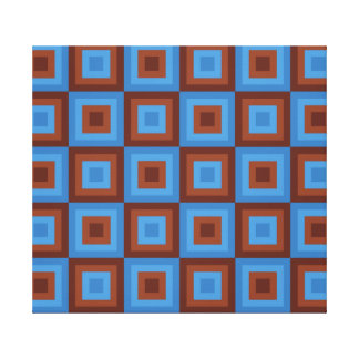 Brown Blue Geometric Patterns Stretched Canvas Prints