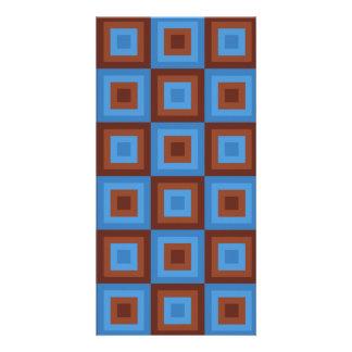 Brown Blue Geometric Patterns Card