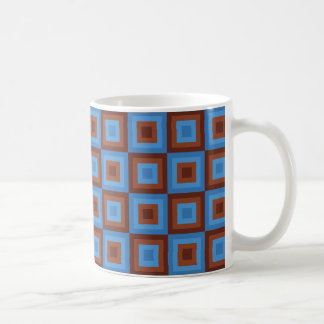 Brown Blue Geometric Patterns Coffee Mug