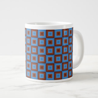 Brown Blue Geometric Patterns Large Coffee Mug