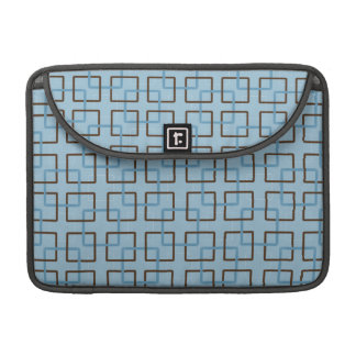 Brown Blue Geometric Squares Sleeves For MacBook Pro
