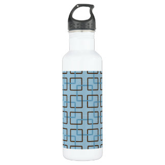 Brown & Blue Geometric Squares Water Bottle