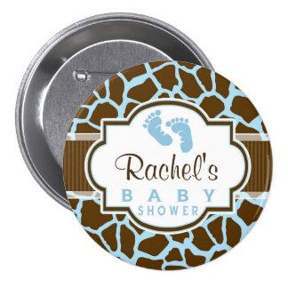 Brown, Blue Giraffe Animal Print Baby Shower 3 Inch Round Button