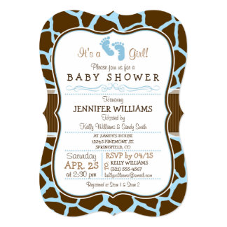 Brown, Blue Giraffe Animal Print Baby Shower 5x7 Paper Invitation Card
