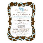 Brown, Blue Giraffe Animal Print Baby Shower Card