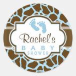 Brown, Blue Giraffe Animal Print Baby Shower Classic Round Sticker