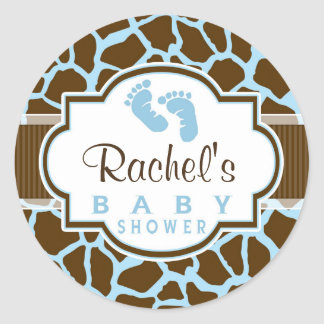 Brown, Blue Giraffe Animal Print Baby Shower Classic Round Sticker
