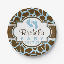 Brown, Blue Giraffe Animal Print Baby Shower Paper Plate