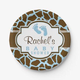 Brown, Blue Giraffe Animal Print Baby Shower Paper Plate