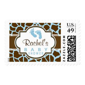 Brown, Blue Giraffe Animal Print Baby Shower Stamps