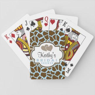 Brown, Blue Giraffe Animal Print Bridal Shower Card Deck