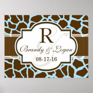 Brown, Blue Giraffe Animal Print Wedding
