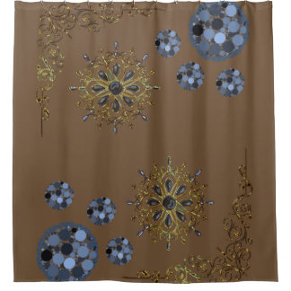 Blue And Brown Shower Curtains | Zazzle