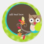 Brown+Blue+Green Owl stickers/add monogram