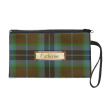Brown, Blue & Green Thomson Family Tartan Plaid Wristlet Purse