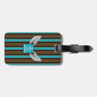 Brown/blue Kciafa backward soon with stripes Luggage Tag