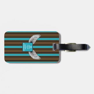 Brown/blue Kciafa backward soon with stripes Luggage Tags