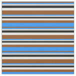 [ Thumbnail: Brown, Blue, Light Grey, Black & Mint Cream Lines Fabric ]