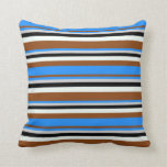 [ Thumbnail: Brown, Blue, Light Grey, Black & Mint Cream Lines Throw Pillow ]