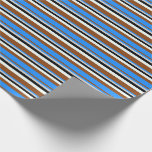 [ Thumbnail: Brown, Blue, Light Grey, Black & Mint Cream Lines Wrapping Paper ]