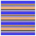 [ Thumbnail: Brown, Blue, Light Yellow & Black Colored Lines Fabric ]
