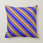 [ Thumbnail: Brown, Blue, Light Yellow & Black Colored Lines Throw Pillow ]